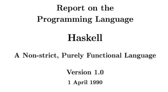The cover of the 1.0 Haskell report