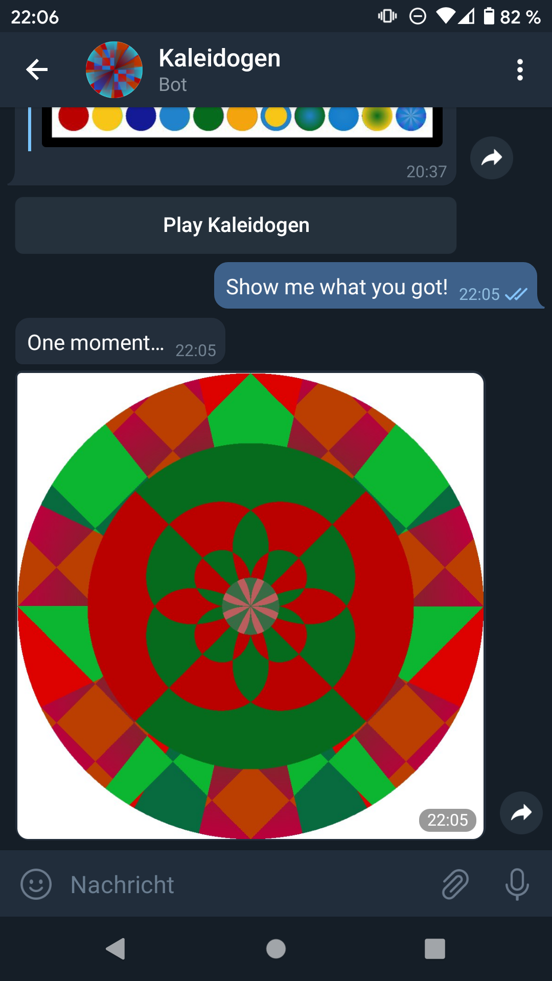 KaleidogenBot in action
